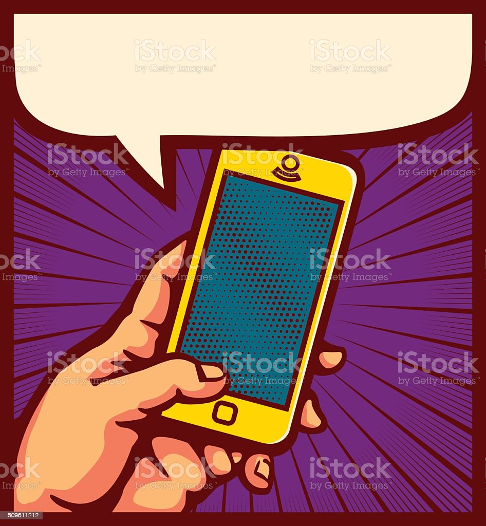 Pop art hand using smartphone comic book vector illustration vector art illustration