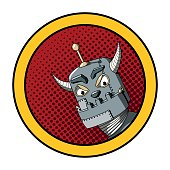 Pop Art illustration of an evil robot