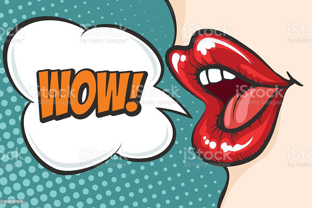 Pop art lips with WOW bubble vector art illustration