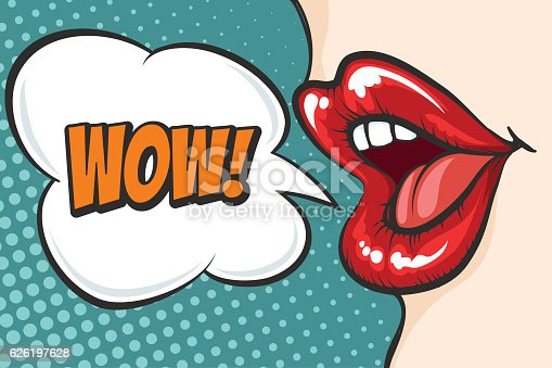Pop art lips with wow bubble stock vector art 626197628 for Cuisine 800 wow