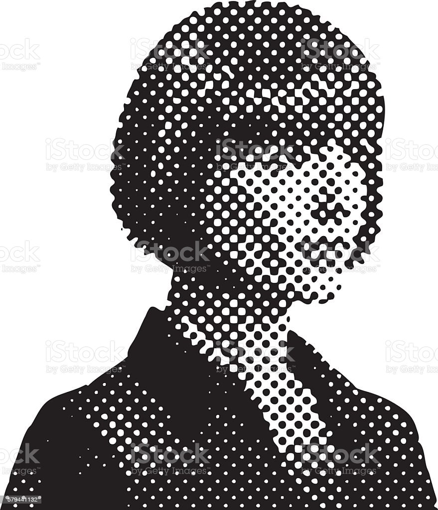 Pop Art Retro Businesswoman with Halftone Pattern vector art illustration