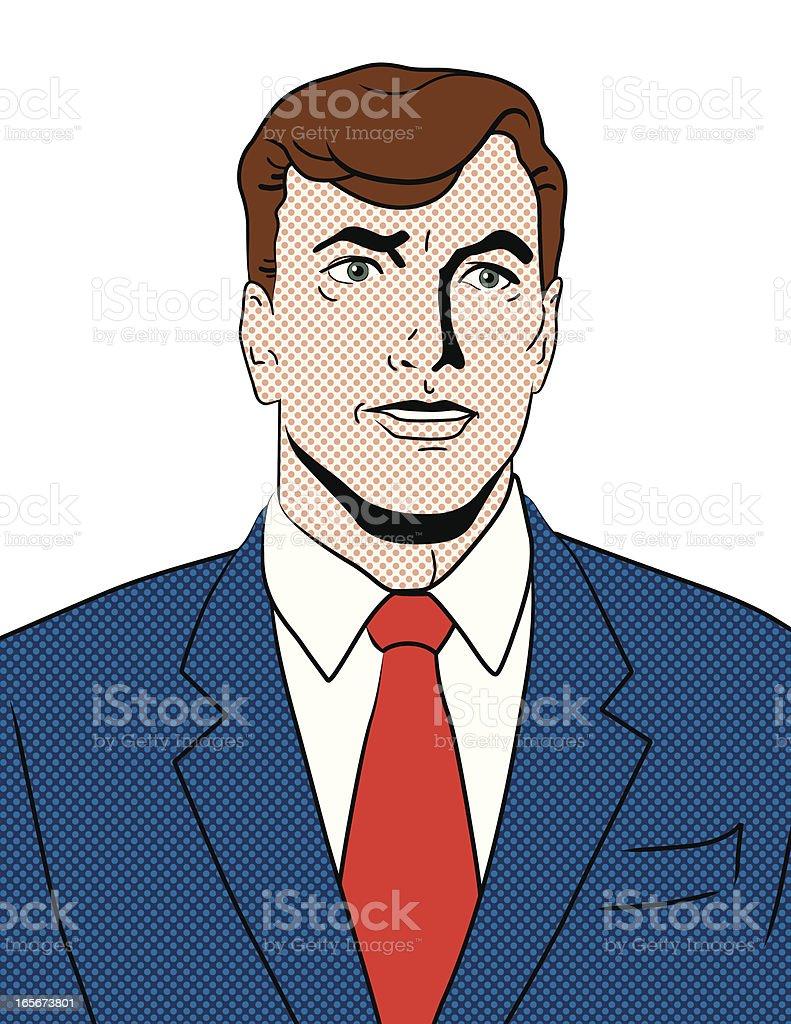 Pop Art Retro Portrait - Caucasian Man royalty-free stock vector art