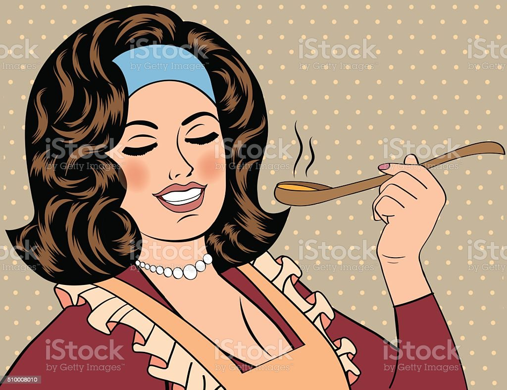 pop art retro woman with apron tasting her food vector art illustration