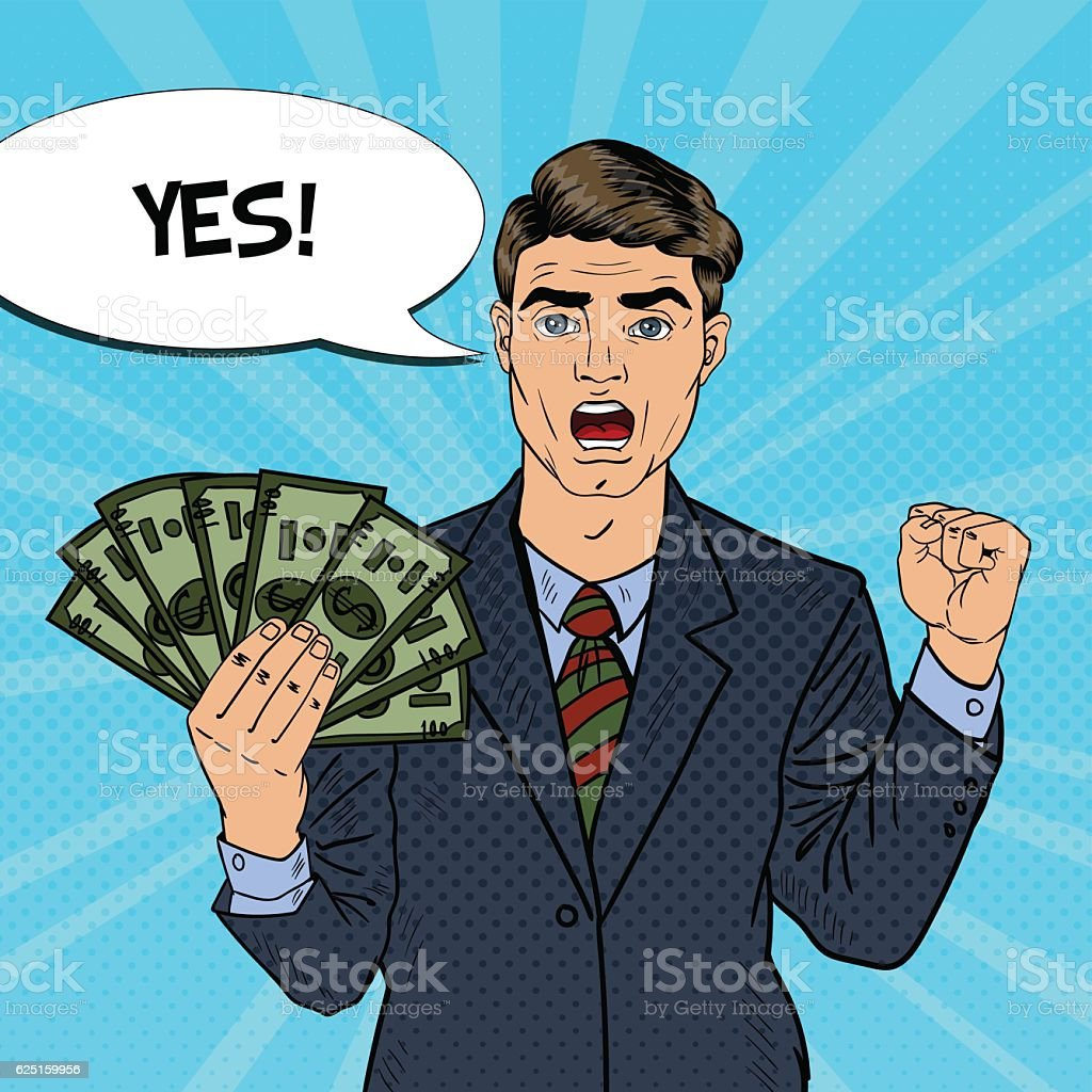 Pop Art Rich Businessman with Money vector art illustration