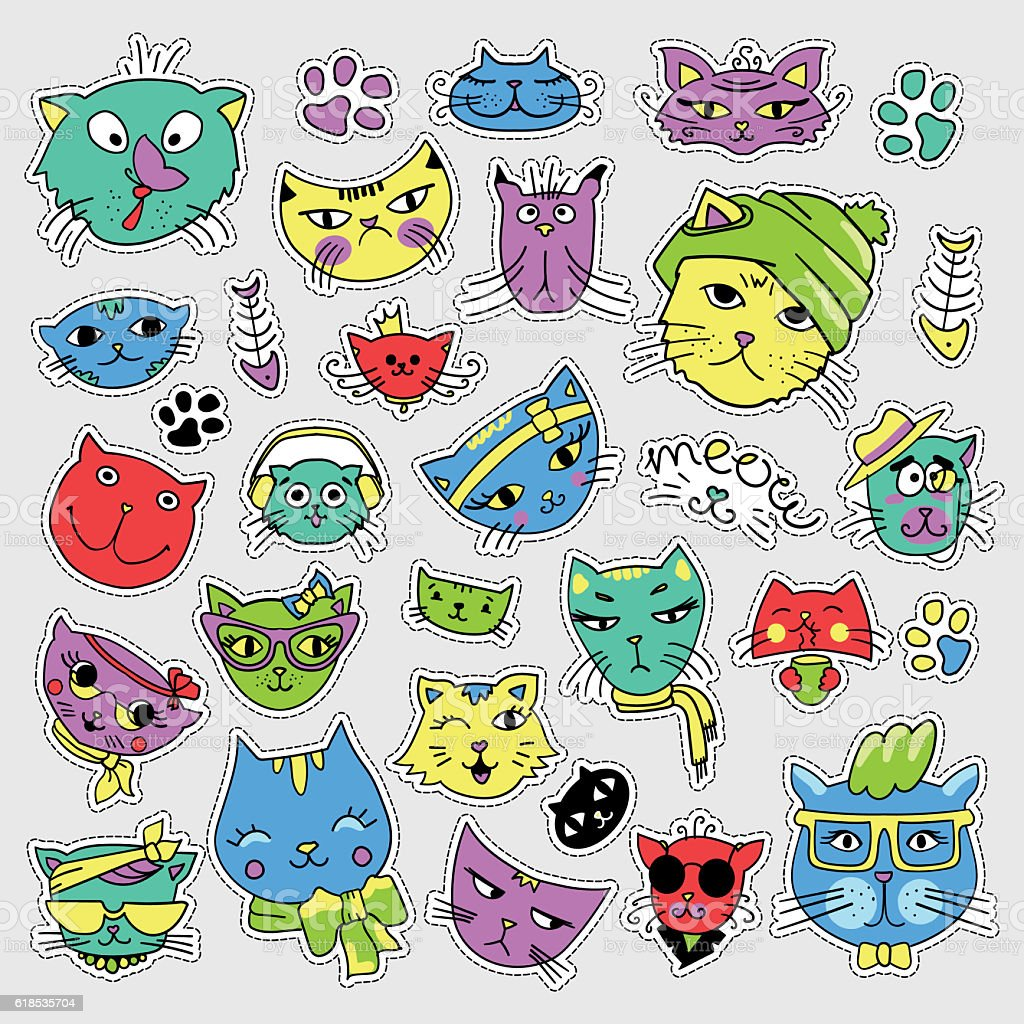 Pop art set with fashion patch badges. Cats and kittens vector art illustration