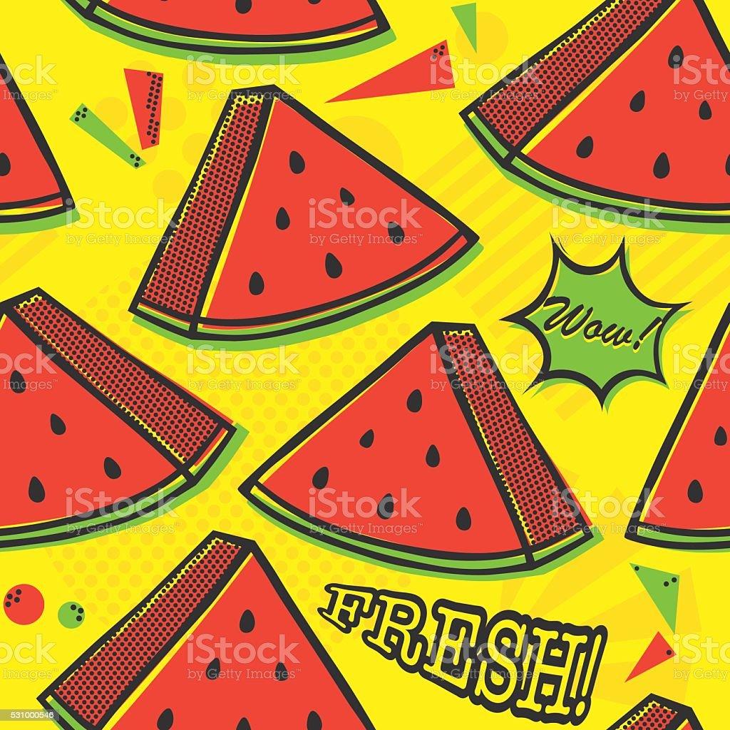 Pop art style watermelon seamless vector pattern on yellow vector art illustration