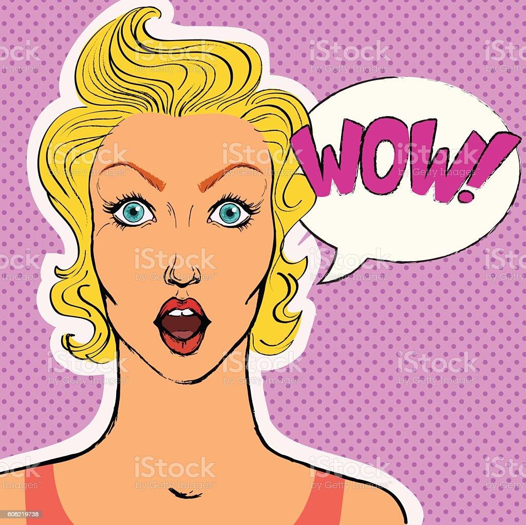 Pop art surprised woman face. vector art illustration