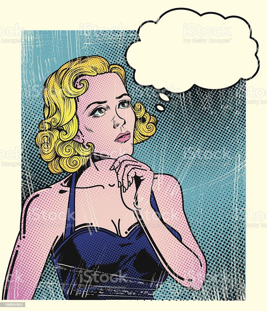 Pop art thoughtful woman vector art illustration