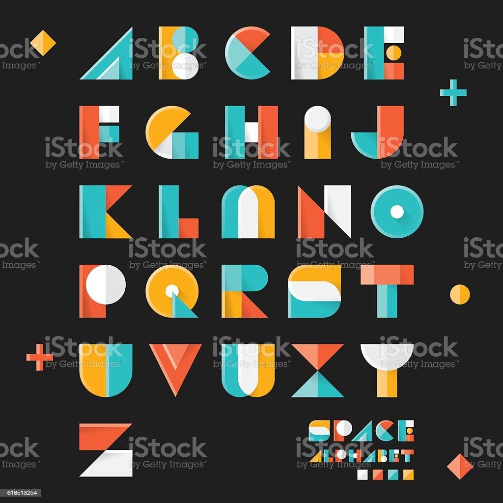 3D pop art vintage style designed Space vector alphabet vector art illustration