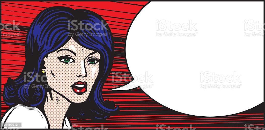 Pop art woman emotional speech vector art illustration