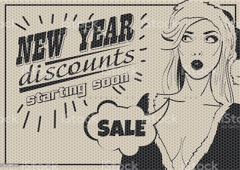 Pop Art Woman SALE poster.  Bklack and white vector illustration vector art illustration