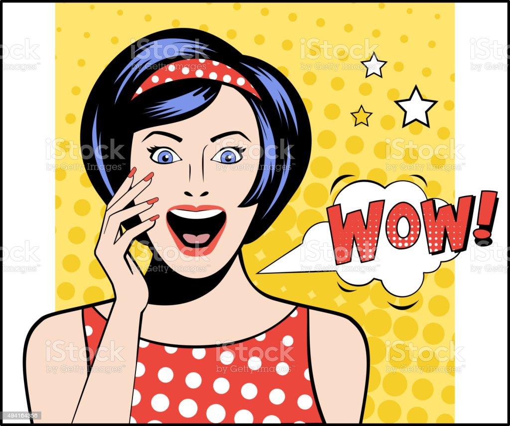 Pop Art Woman WOW Bubble. Vector Illustration vector art illustration