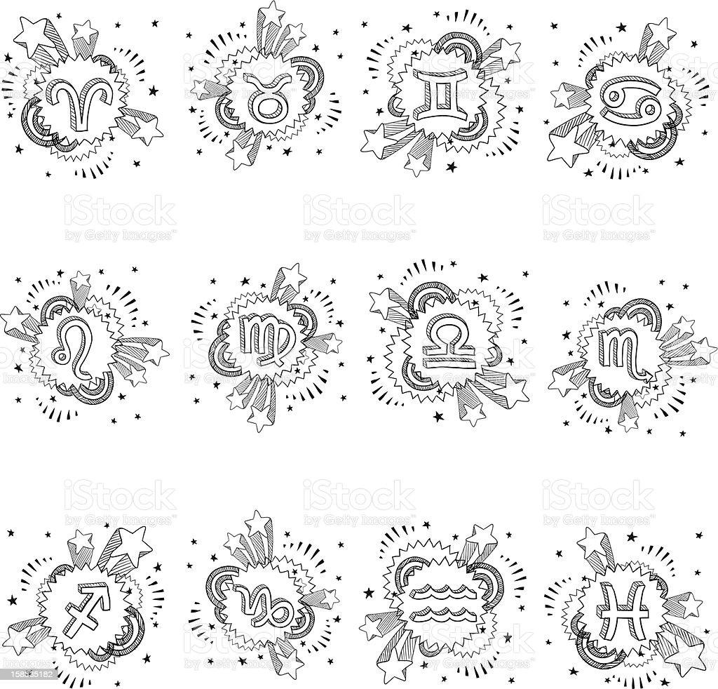 Pop astrology symbol doodle set royalty-free stock vector art