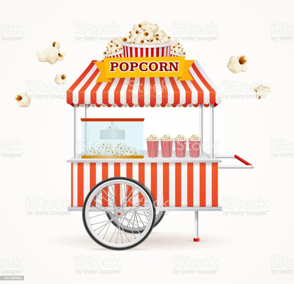 Pop Corn Street Vendor Mobile Store. Vector vector art illustration
