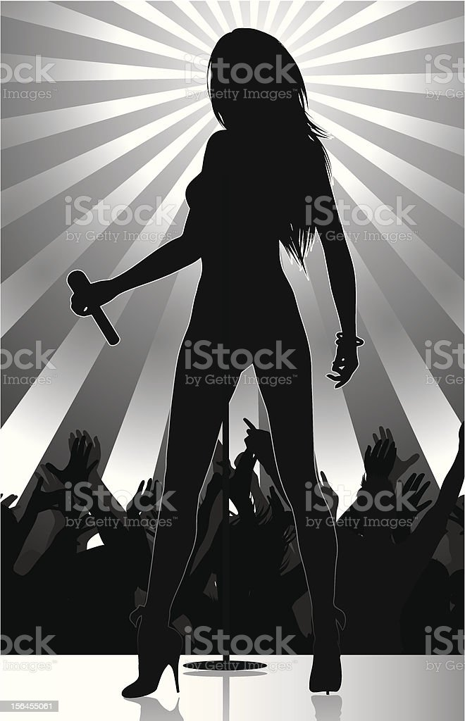 pop singer performing on stage with crowd cheering vector art illustration