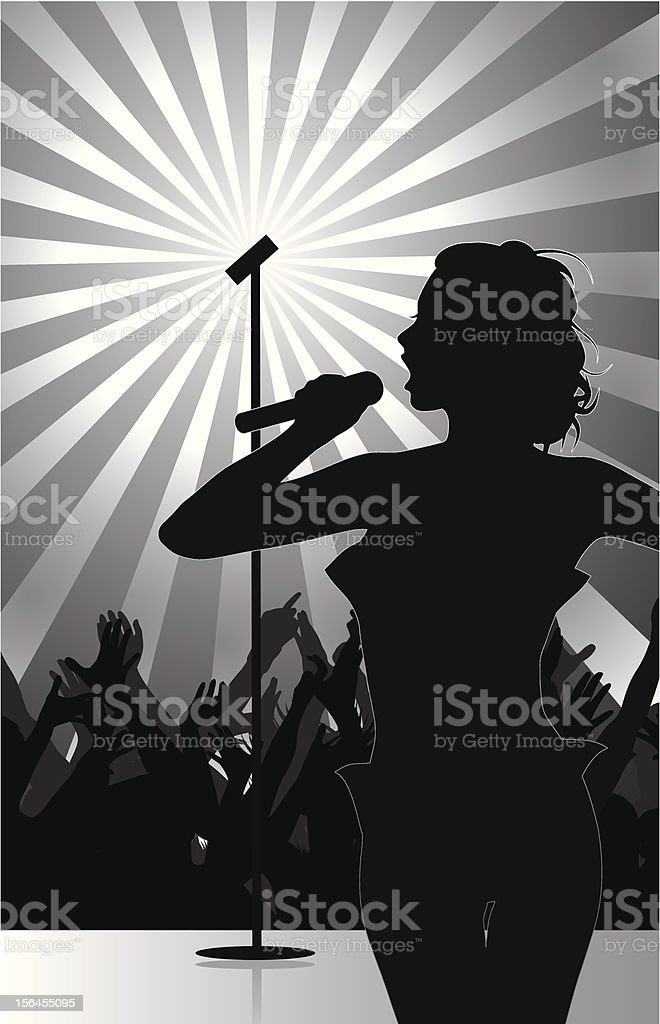 pop singer performing on stage with crowd cheering royalty-free stock vector art