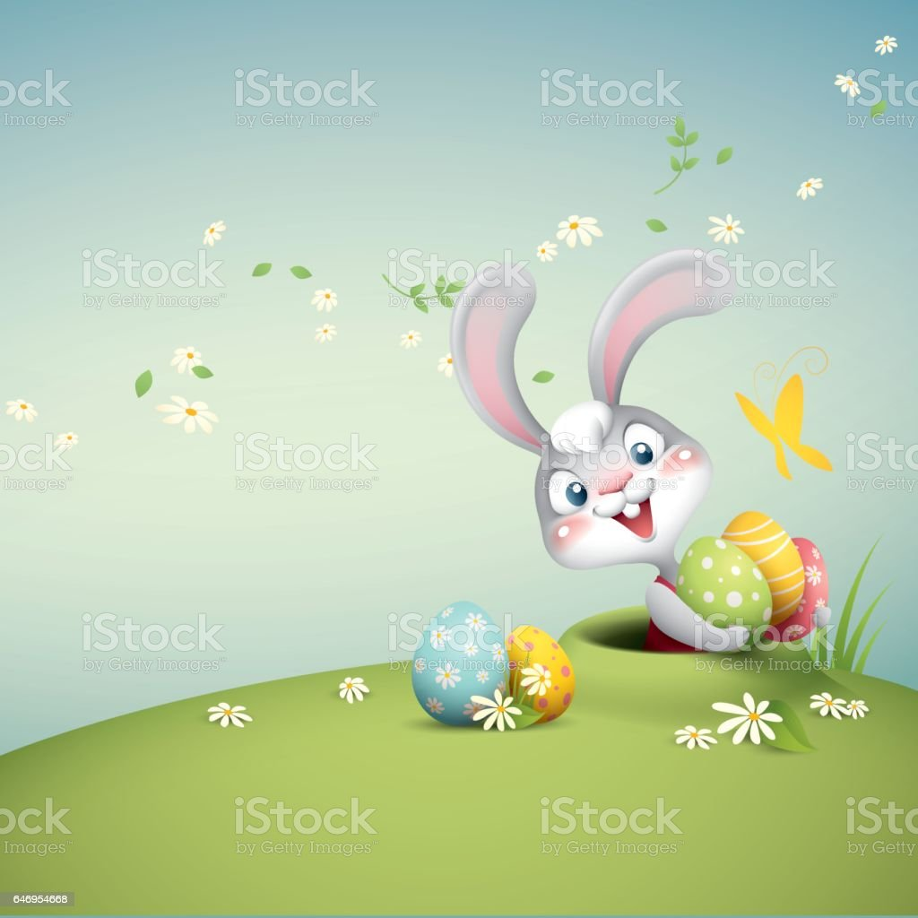 pop up easter bunny vector art illustration