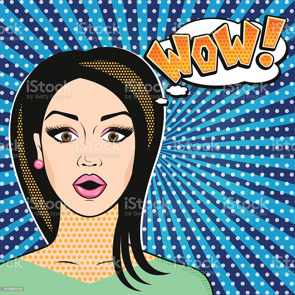 Pop-art comics surprised woman face with open mouth WOW sign vector art illustration