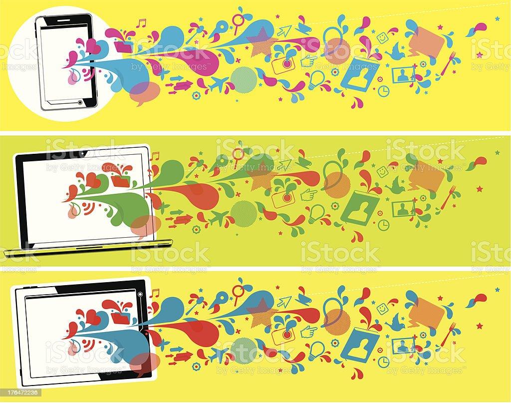 Pop-art technology banners royalty-free stock vector art