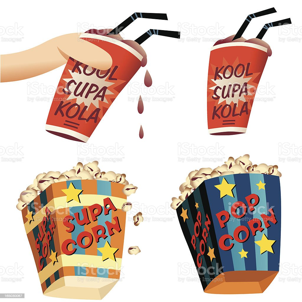 Popcorn and Coke royalty-free stock vector art