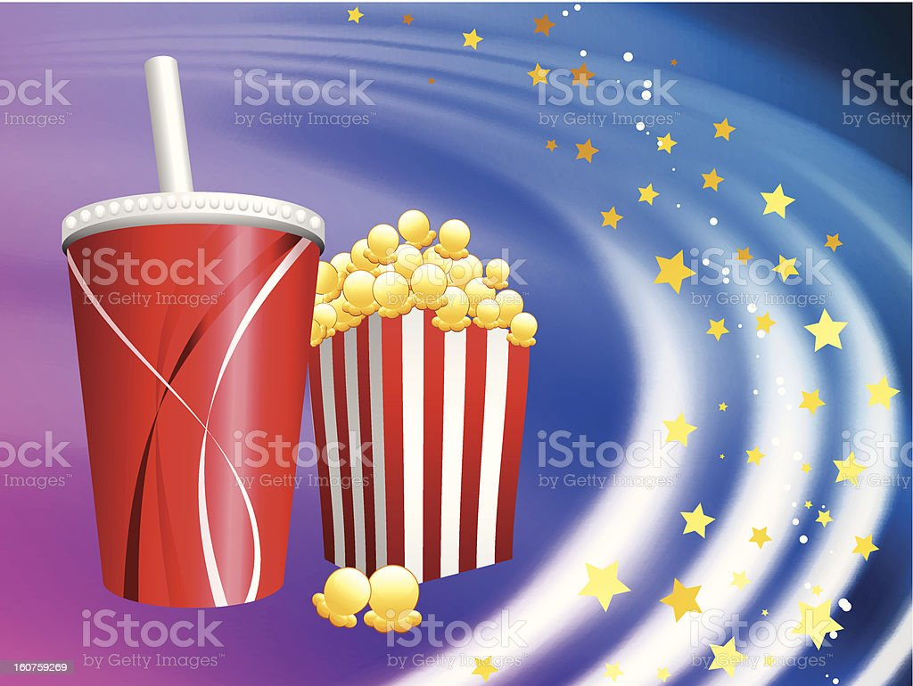 Popcorn and Soda on Abstract Wave Background royalty-free stock vector art