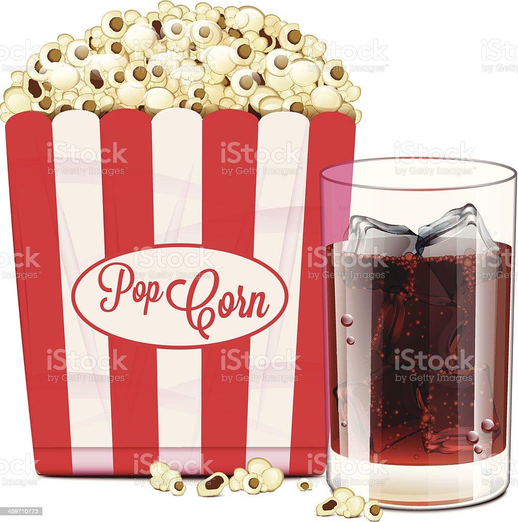 Popcorn And Soda vector art illustration