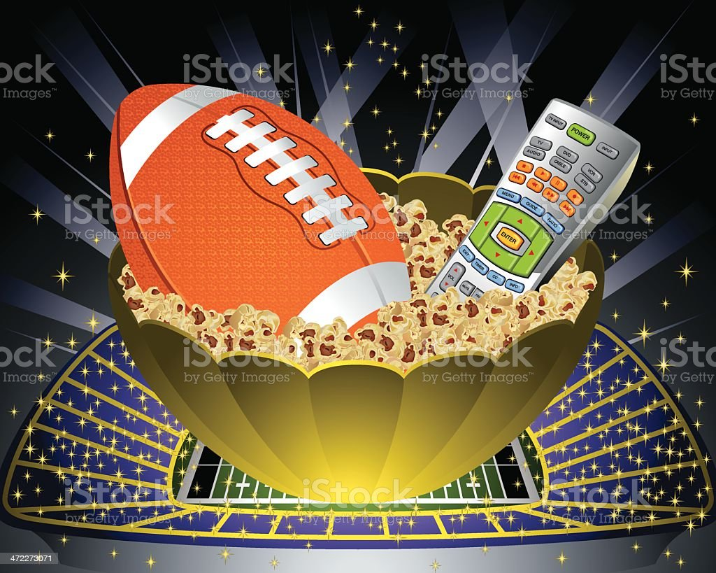 Popcorn Bowl with Football and Remote Control Vector royalty-free stock vector art