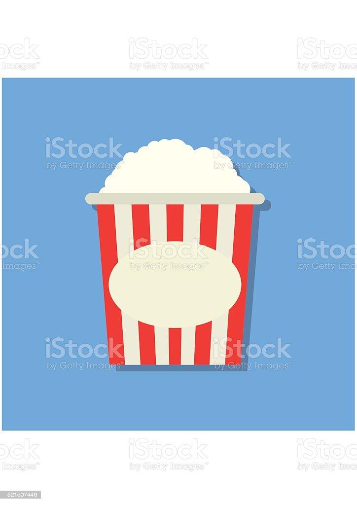 Popcorn box icon flat style isolated on blue background. Cinema vector art illustration