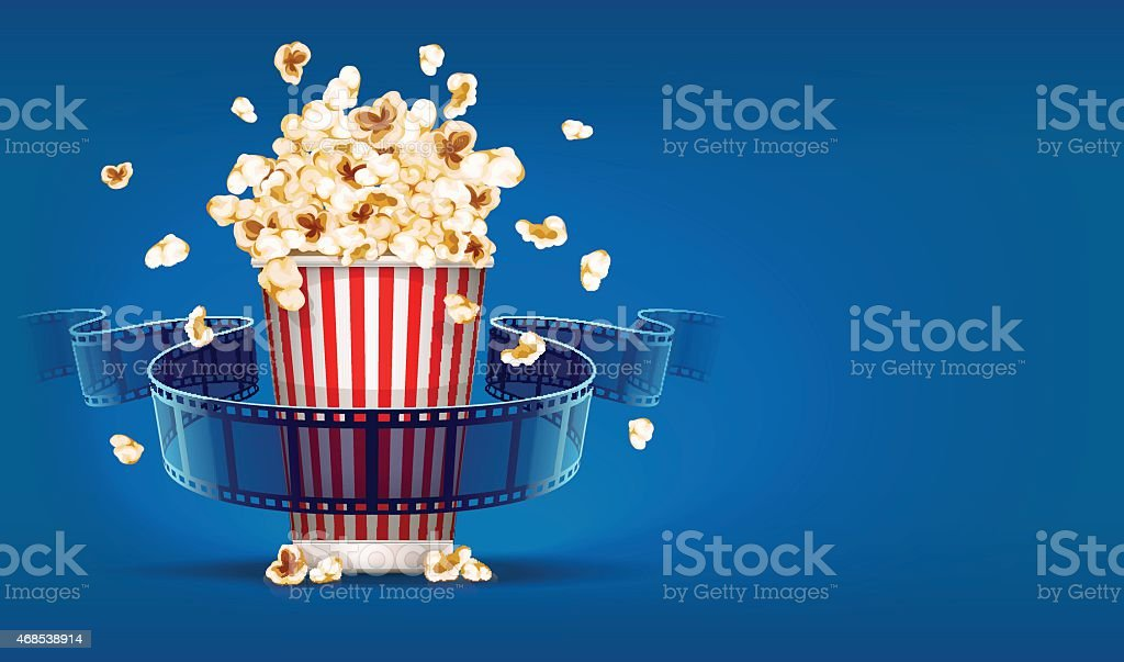 Popcorn for cinema and movie film tape on blue background vector art illustration