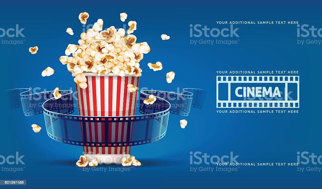 Popcorn for movie theater and cinema reel on blue background vector art illustration