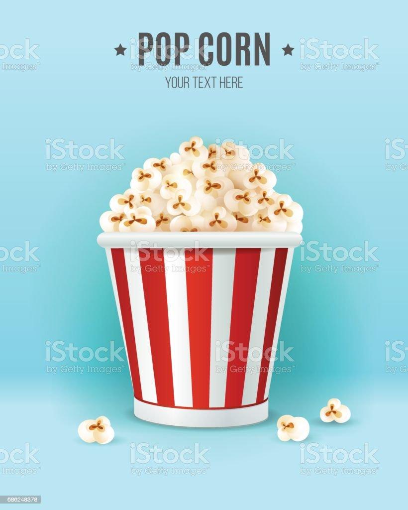 Popcorn in in striped box. vector art illustration