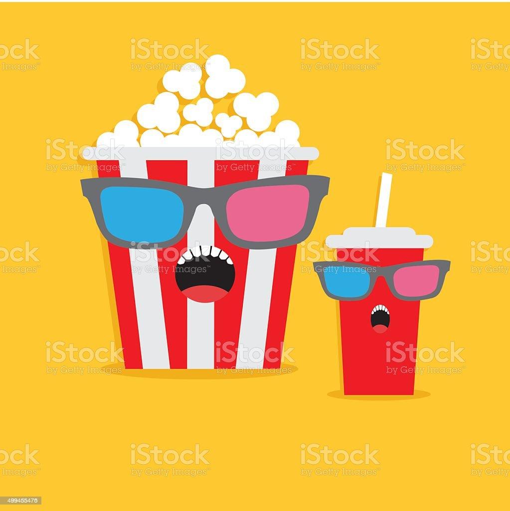 Popcorn soda glass Screaming characters in 3D glasses. Cinema Flat vector art illustration