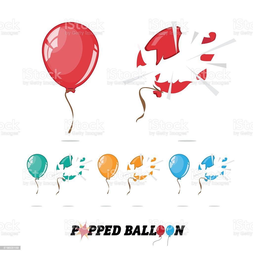 popped balloon - vector vector art illustration