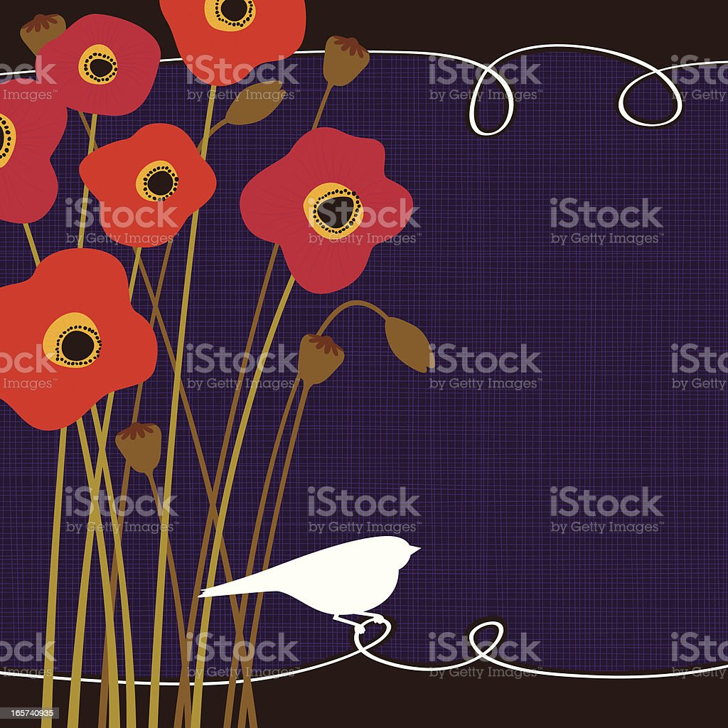 Poppies and bird royalty-free stock vector art