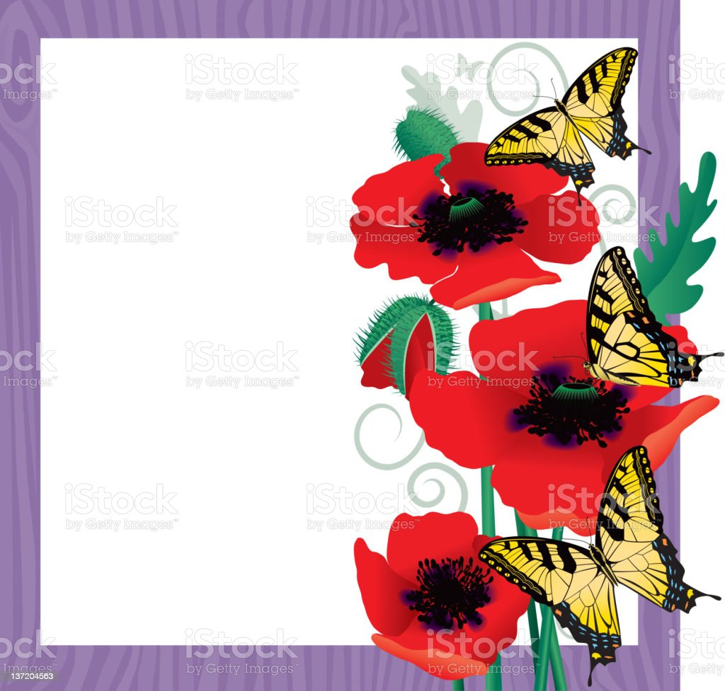 Poppies and Yellow Swallowtail Butterflies royalty-free stock vector art