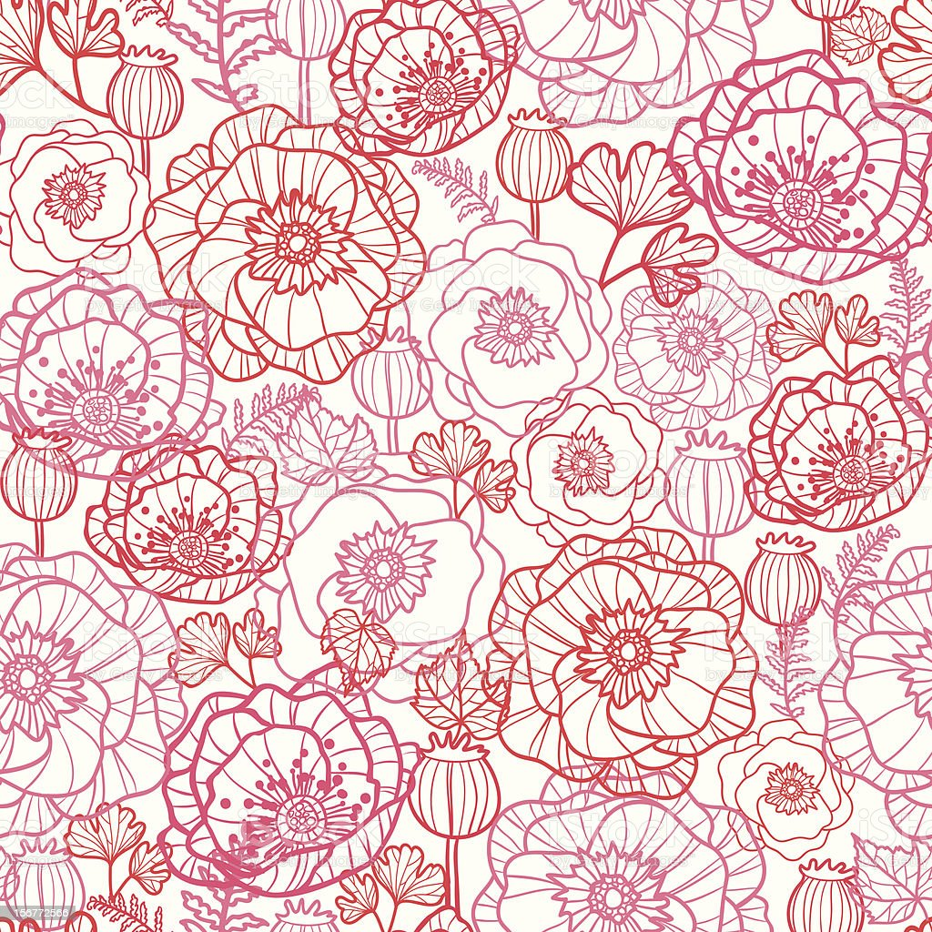 Poppies Line Art Seamless Pattern Background royalty-free stock vector art