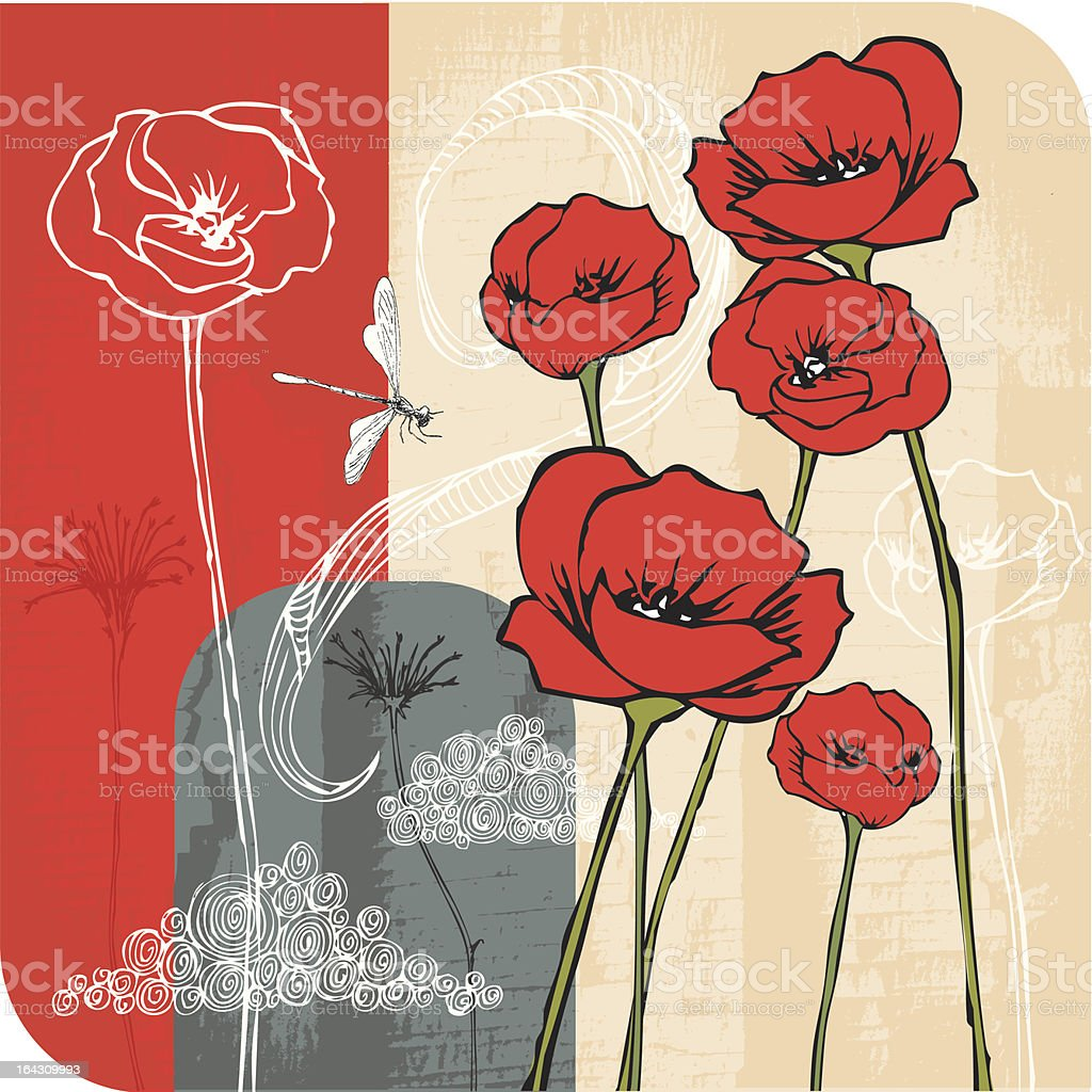Poppies on Board royalty-free stock vector art