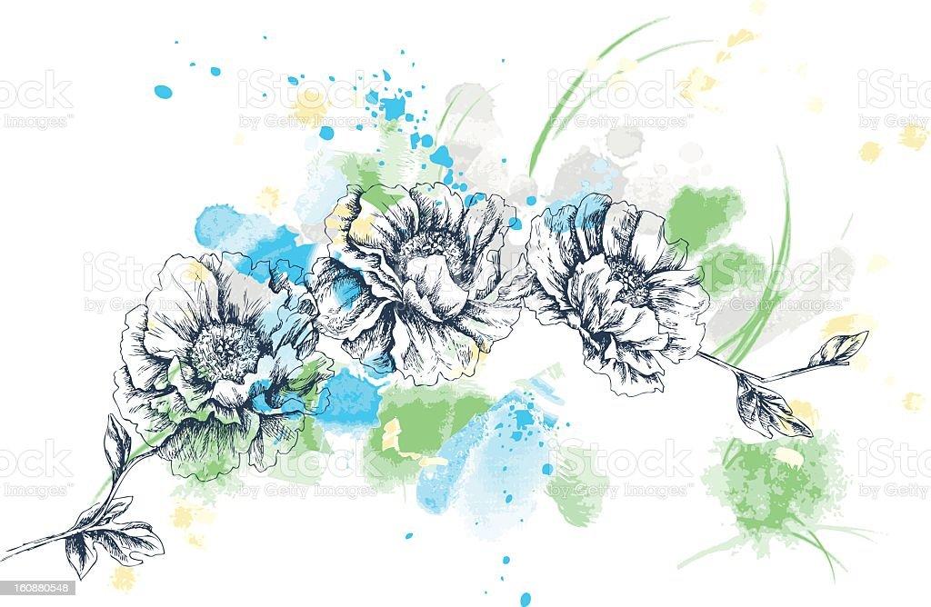 Poppy artistic drawing vector art illustration