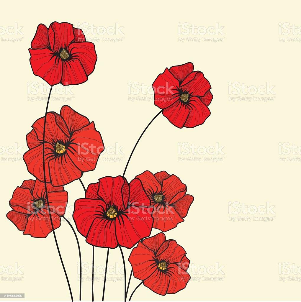 poppy background vector art illustration