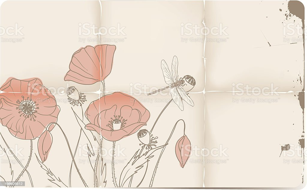 Poppy doodles on aged paper royalty-free stock vector art