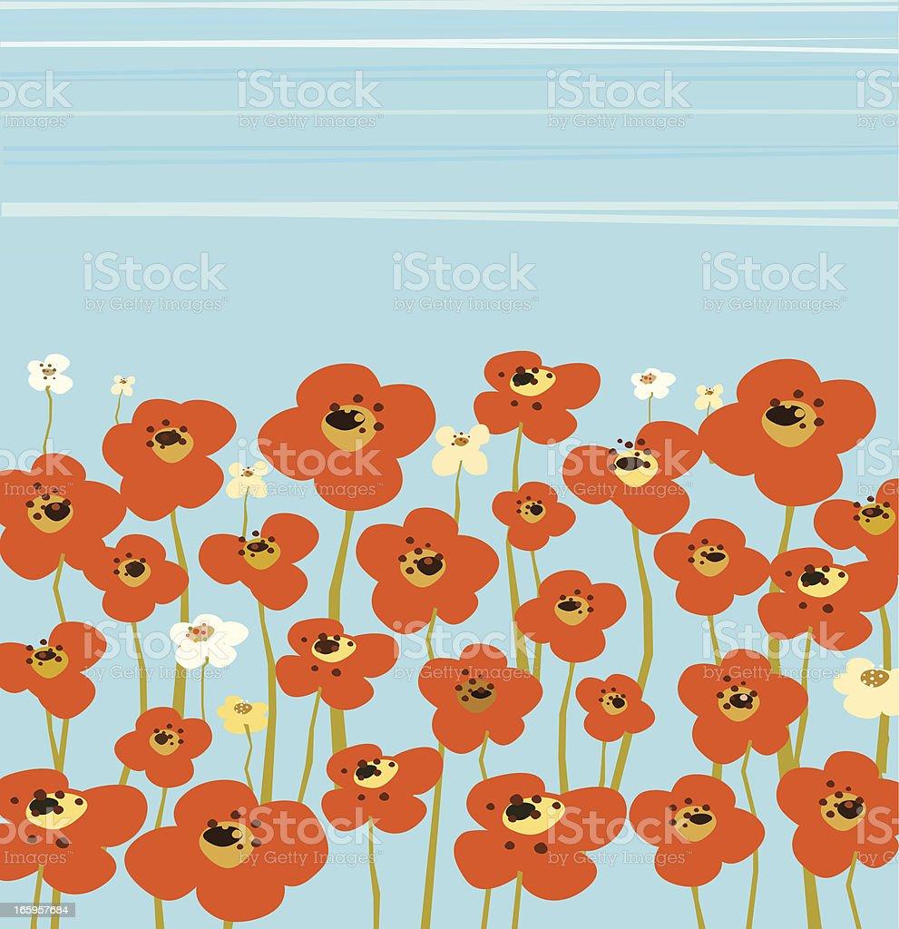 Poppy Field And Blue Sky vector art illustration