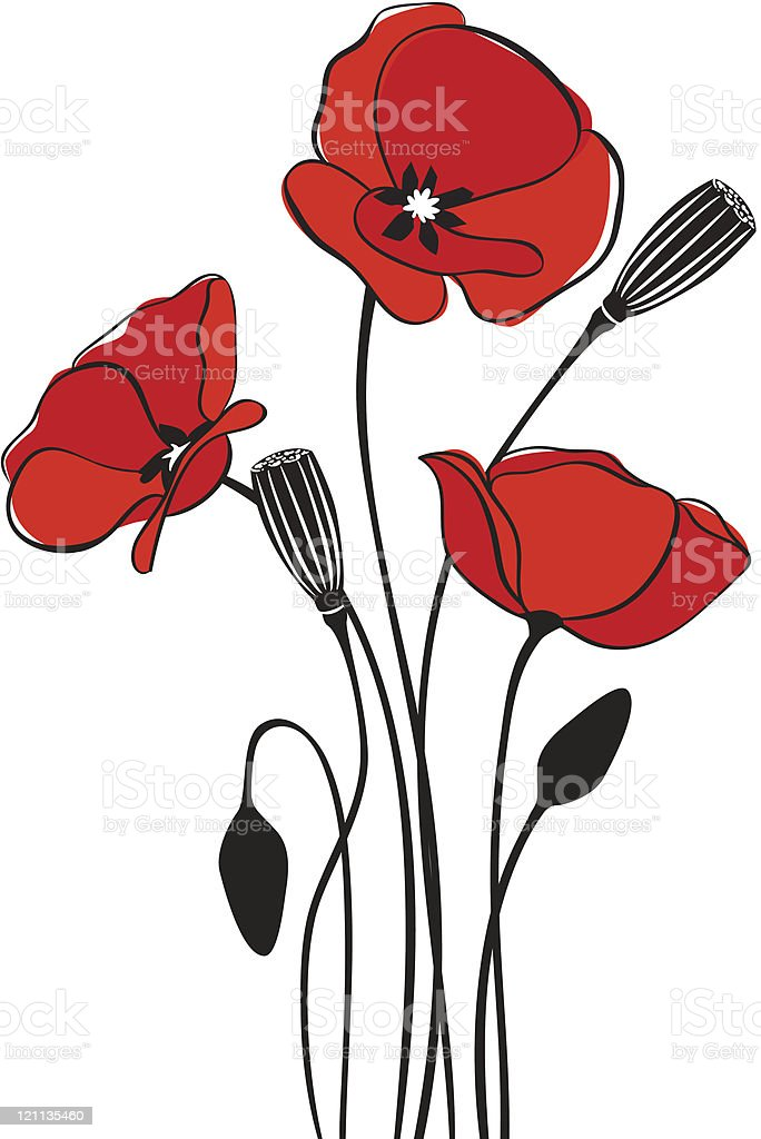Poppy floral background vector art illustration