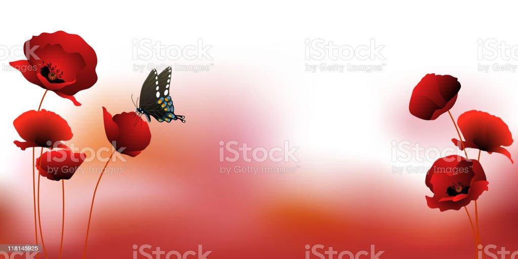 Poppy Flower Field Background royalty-free stock vector art