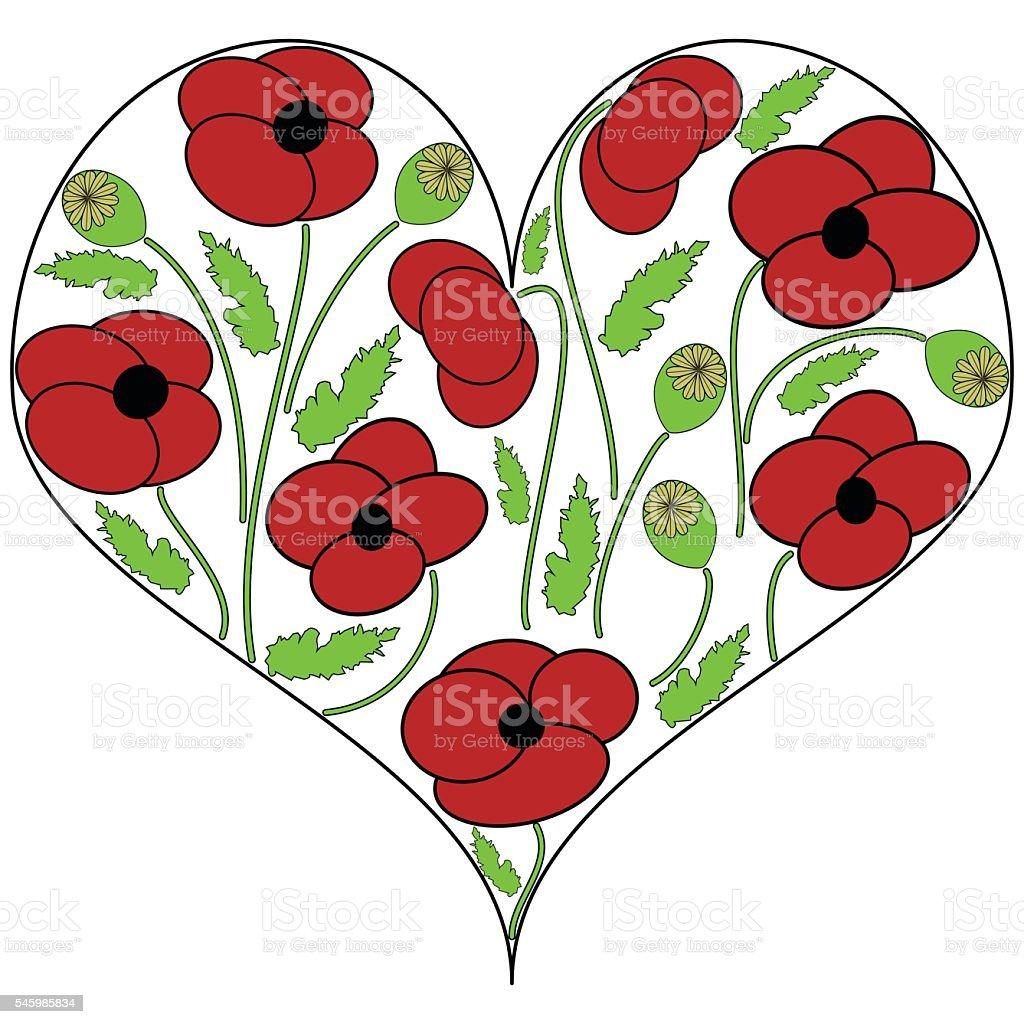 Poppy  flowers in the heart shape vector art illustration