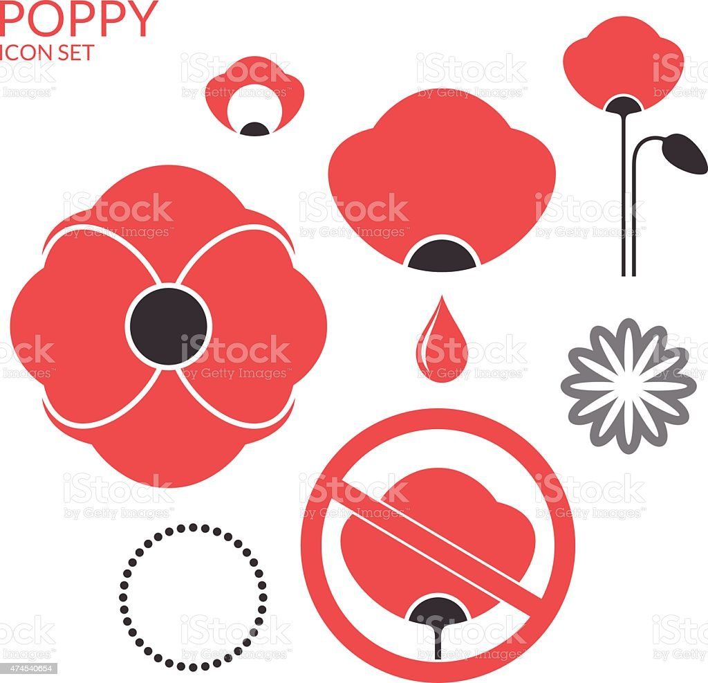 Poppy. Icon set vector art illustration