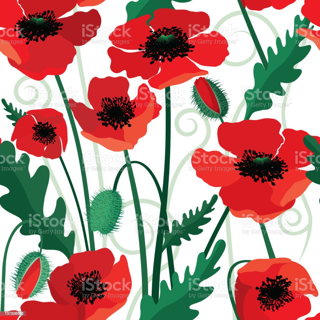 Poppy Seamless Pattern royalty-free stock vector art