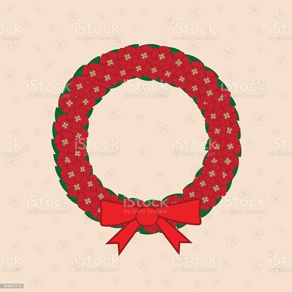 Poppy wreath vector art illustration