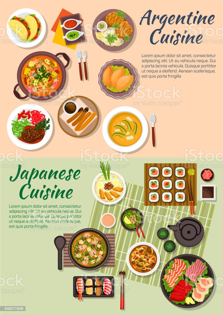 Popular argentine and japanese food flat icon vector art illustration