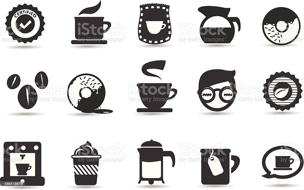 Popular coffee shop icons in black and white vector art illustration