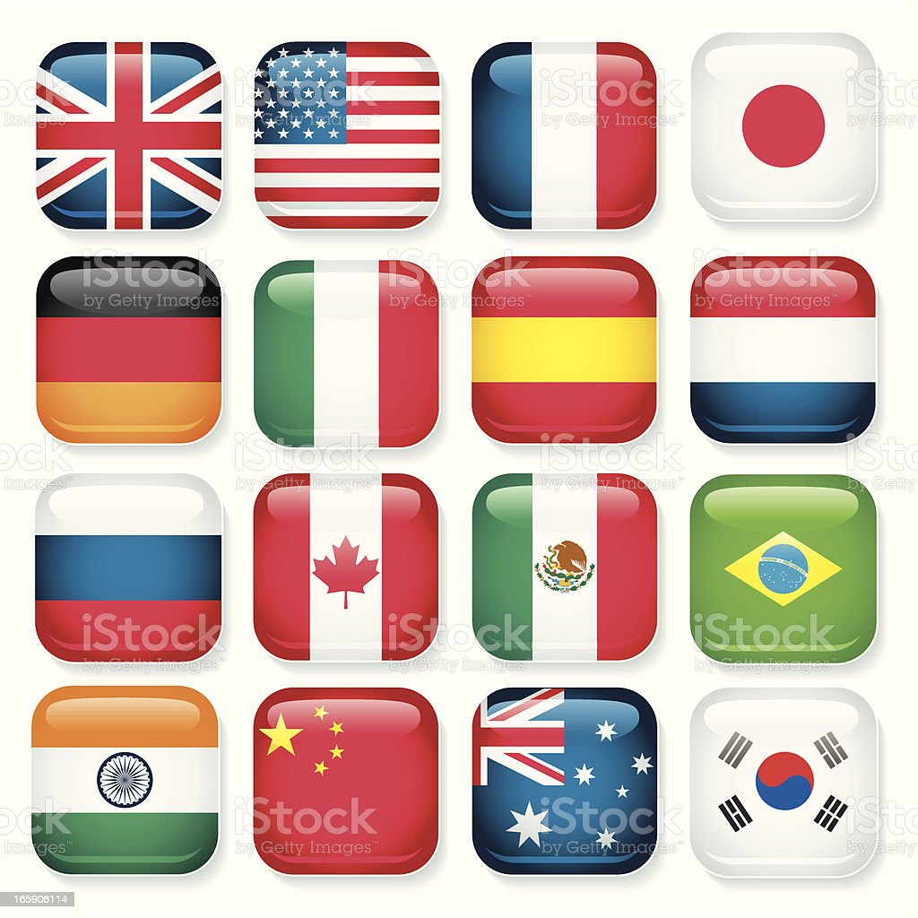 Popular Country app icons royalty-free stock vector art
